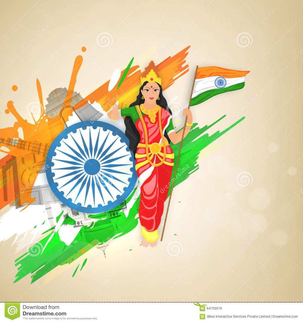 bharat-mata-mother-india-indian-republic-day-creative-illustration-holding-flag-ashoka-wheel-historical-monuments-64703519