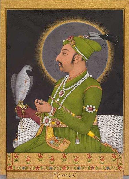 Muhammad_Shah_Holding_a_Falcon,_1764,_Muhammad_Rizavi_Hindi